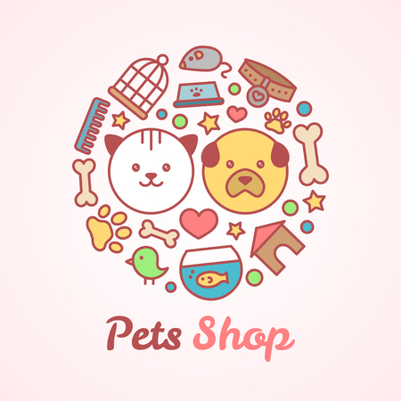 Flat line style pets shop illustration in the form of a circle. For pets shop or veterinary design concept. Goods for animals, vector icons set isolated on white background