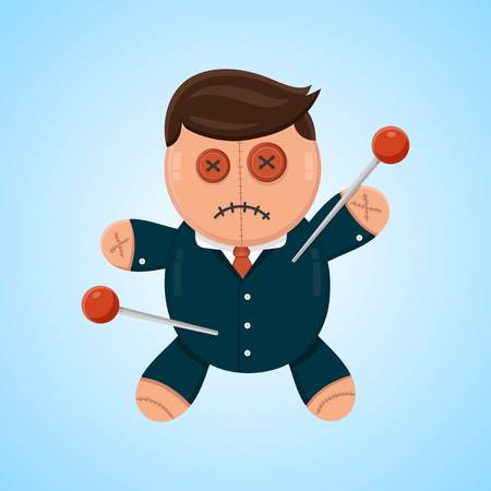 competitor: Businessman or politician doll voodoo vector flat isolated illustration. Political or business competitor concept Illustration