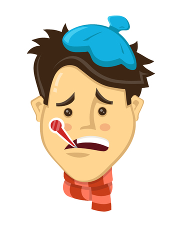 Cartoon men got sick with thermometer flat vector illustration. cold concept. Seasonal virus attack. isolated on white background Illustration