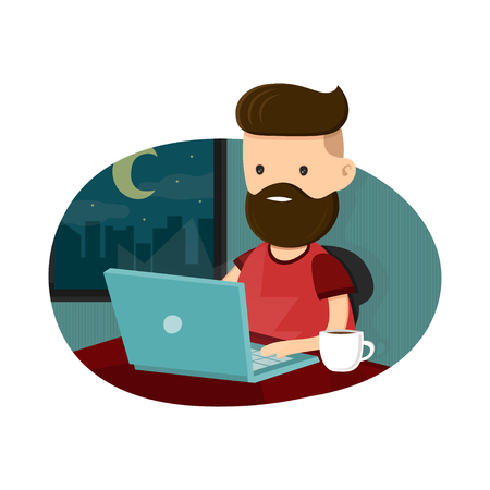 overtime: Young men hipster character sitting at a laptop and working overtime late night. Freelance work. Flat vector illustration. Isolated on white background