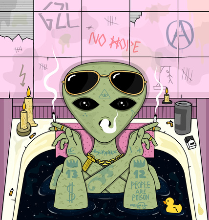 chill: alien smoke and chill in bath. psychedelic vector illustration Illustration