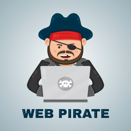 illegal: Internet pirate with a laptop computer. vector flat isolated character illustration. web security and illegal download piracy content concept Illustration