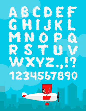 Vector illustration of cloud alphabet isolated on a blue sky and city landscape background. Cloudy font design decoration number typeface. Weather text heaven and flat airplane