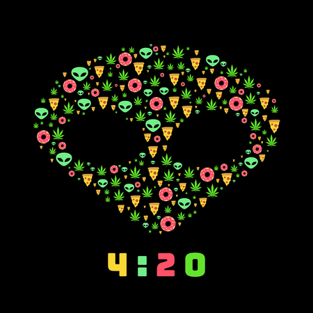 stoned: Dope trip flat vector pattern with marijuana leafs, donuts, pizza slices and aliens. Isolated on black background. T-shirt design Illustration