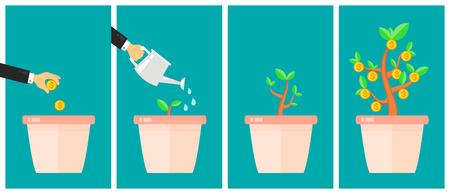 allocation: Business strategic asset allocation concept. Money tree flat design cartoon vector illustration. Business start up idea. Financial growth process timeline Illustration