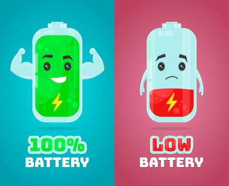 낮은 배터리 및 전체 전원 배터리 벡터 플랫 만화 문자 그림입니다. 에너지 충전 개념 일러스트