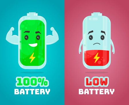 low battery and full power battery vector flat cartoon character illustration. Energy charge concept Ilustração