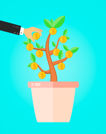 bullish: businessman take a coin from money tree. financial income business concept. Vector flat illustration