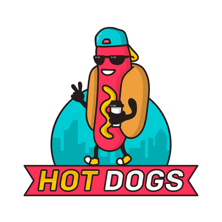 hotdogs: Cool guy hot dog in city with coffee paper cup character line colorful vector illustration. template design, badge for fast food, street food, hot-dogs restaurant. Isolated on white background