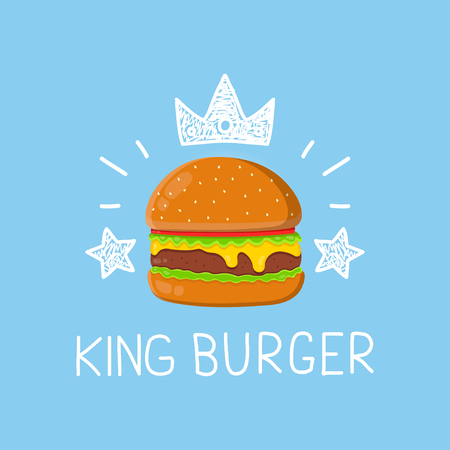 King burger concept vector cartoon flat and doodle illustration. Crown and stars icon