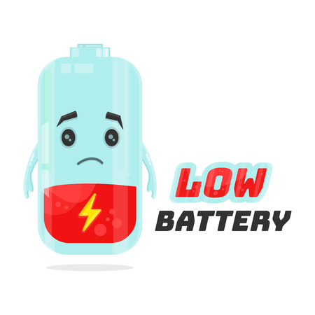 lithium: Low battery character design. Vector flat cartoon illustration. Energy power concept. Isolated on white background