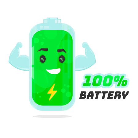storage device: Full 100% battery character design. Vector flat cartoon illustration. Energy power concept. Isolated on white background Illustration
