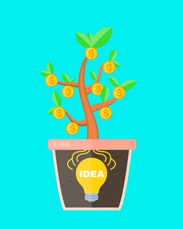 lithium: Business concept idea is profitable. lightbulb idea sign in a pot with money tree. Idea make money. Vector flat cartoon isolated illustration