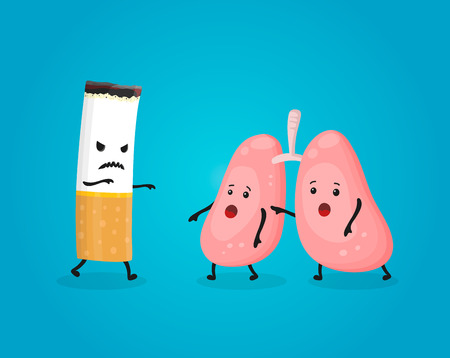 Smoking kill lungs. Stop smoking comcept. Cigarette kills. Vector flat cartoon character illustration