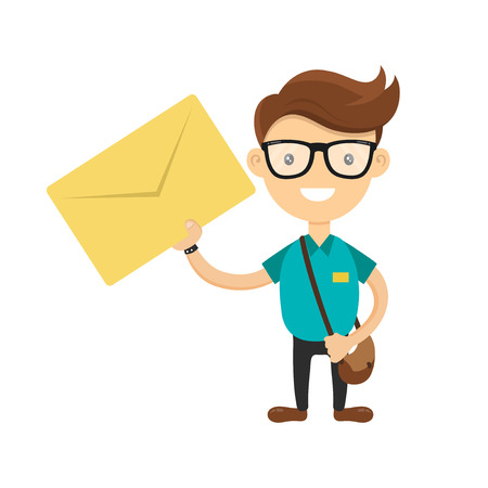 delivered: Young courier or postman delivered the letter. You have a letter concept. Vector flat cartoon character illustration isolated on white background