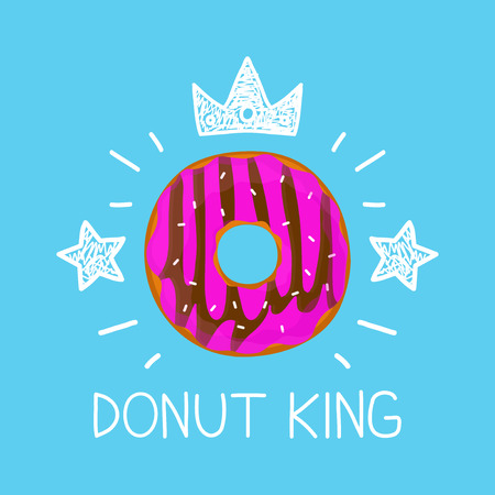 King donut concept vector cartoon flat and doodle illustration. Crown and stars icon