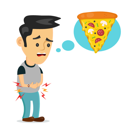 Young suffering sad man is hungry. thinks about food, fast food, pizza. Vector flat cartoon illustration icon design. Isolated on white backgound. Hungry concept