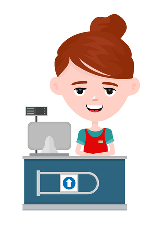 Young happy cute smiling cashier woman standing in supermarket. Female cashier in uniform at workplace.Vector modern flat style cartoon character illustration. Isolated on white background.