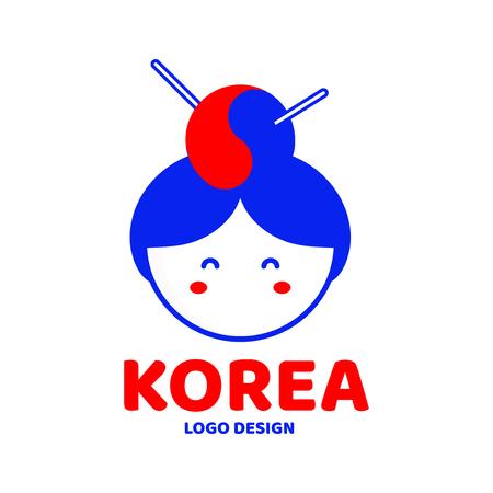 Cute Korea woman face logo design template. Vector modern flat style cartoon character illustration. Isolated on white background. Korea concept Illustration
