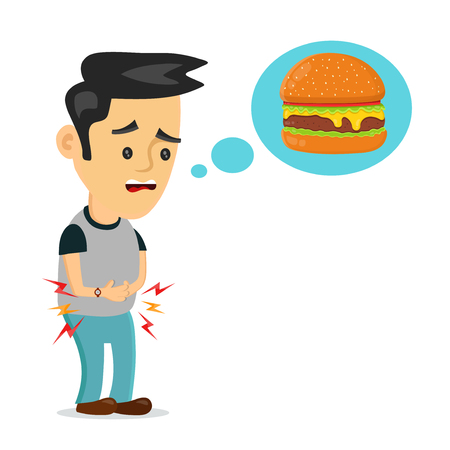 Young suffering sad man is hungry. thinks about food, fast food, burger. Vector flat cartoon illustration icon design. Isolated on white backgound. Hungry concept Illustration