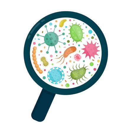 Bacterieel micro-organisme in een cirkel. Bacteriën en kiemen kleurrijke set, micro-organismen, bacteriën, virussen, schimmels, protozoa onder het verjongende glas, vergrootglas. Vector platte cartoon illustratie pictogram Vector Illustratie