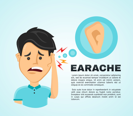 Vector illustration flat man with a earache. Frustrated young man touching his ear and feel aching. Pain in the human body, ear ache, otitis concept Illustration