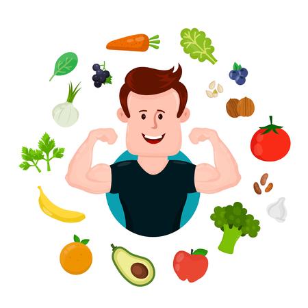 野菜や果物の周りの揚水スポーツ フィットネス若者。ベクトル フラットな近代的なスタイルのイラストの文字アイコン デザイン。白い背景上に分