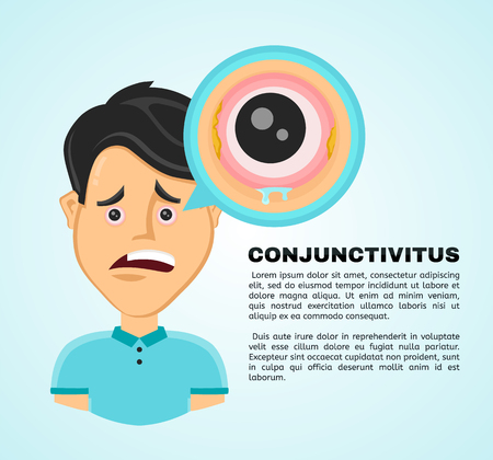 Vector illustration flat suffering young man with a conjunctivitis. Pain in the human body, eye ache, eye problems concept. Isolated on white background