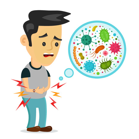 Young sick man having stomach ache, food poisoning, stomach problems, abdominal pain. Vector flat cartoon character illustration.Medical concept.Bacteria,germs,microorganism,viruses,fungi,protozoa