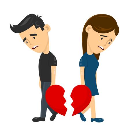 corazón triste joven hombre y mujer niña pareja de divorcio de separación. Ilustración plana de depresión vector concepto de personaje de diversión. Amor del corazón roto, Desesperación Soledad Infeliz con el corazón roto.
