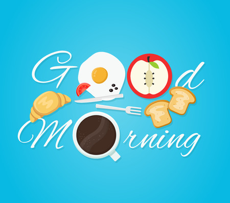 Good morning card. Fried eggs, croissant, coffee, toast, apple.. Vector modern line outline flat style cartoon illustration. Isolated on blue background.Concept good morning breakfast creative card