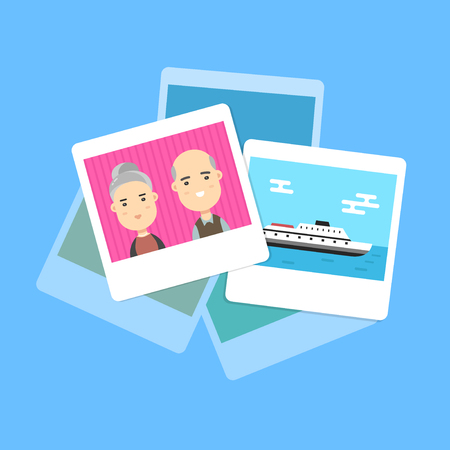 Pile of photos. Photo of family and traveling. Vector cartoon modern trendy stylish flat character illustration icon design. Isolated on blue background. Photo archive concept Illustration