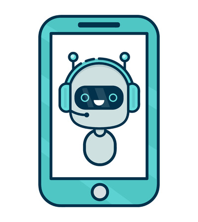 Cute smiling robot, chat bot say in smartphone. Vector modern line outline flat style cartoon character illustration. Isolated on white background. Voice support, virtual online help support concept Иллюстрация