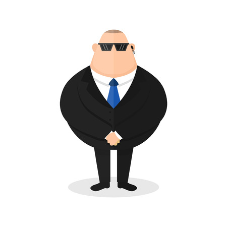 Strong bodyguard, security guard. Young sick man cough. Vector modern flat style cartoon character illustration icon design. Isolated on white background. Save concept