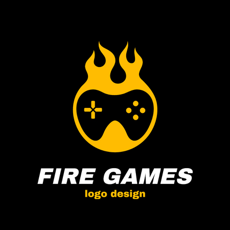 火災ゲームベクトルアイコンイラストテンプレートロゴデザイン。火の中のジョイスティック。ホットゲーム、ゲームパッド、ゲーマーのコンセプ  イラスト・ベクター素材