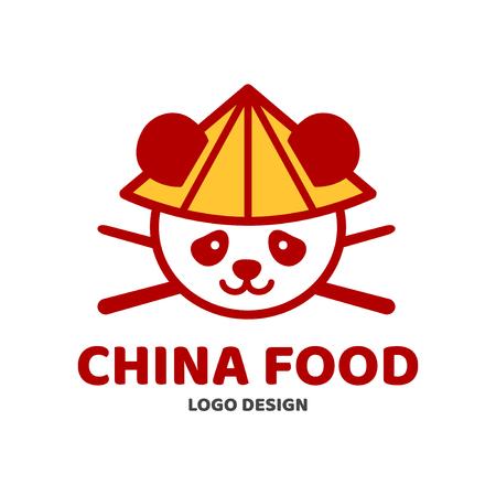 China food panda and chopsticks in hat logo template design china food panda and chopsticks in hat logo template design vector modern line outline flat maxwellsz