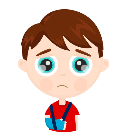 Cute sad little boy kid child with broken arm in plaster. Vector modern flat style cartoon character illustration. Isolated on white background