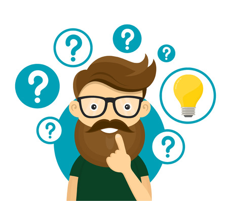 Hipster businessman having creative idea. Business man standing with question marks and idea light bulb above his head. Business idea concept..Vector flat cartoon illustration character icon