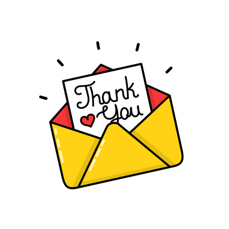 Thank you calligraphy inscription letter in envelope. Vector modern line outline flat style cartoon illustration icon. Isolated on white background.  Card concept