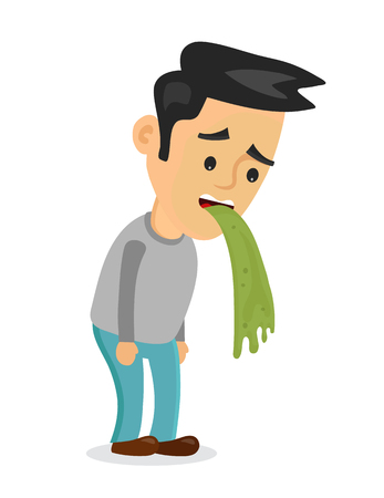 Young man vomiting puking. Vector flat cartoon character illustration icon.Isolated on white background. Vomit, food poisonong, alcohol poisoning concept Vectores