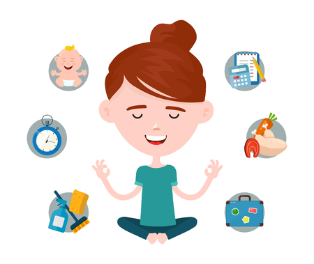 Woman in a lotus yoga pose relaxes surrounded by domestic and work problems. Vector modern flat style cartoon character illustration. Isolated on white background.