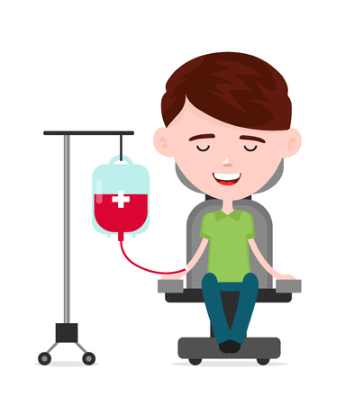 Young happy man donor, a person donates blood, charity blood donation concept.Vector flat cartoon illustration character icon.Isolated on white background. Illustration