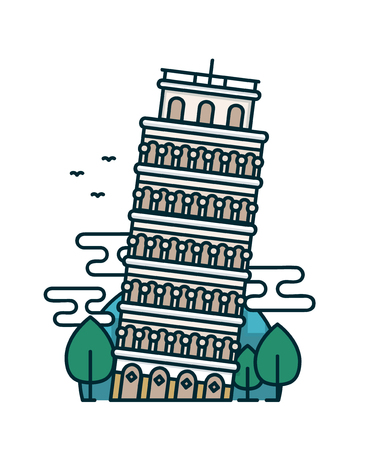 Leaning tower of Pisa, trees. Vector modern line outline flat style cartoon illustration icon. Isolated on white background. Pisa, Italy, traveling card concept