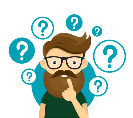Young hipster business man thinking standing under question marks.Young hipster business man thinking.Thinking business man surrounded by question marks.Vector flat cartoon iluustration character icon Illustration