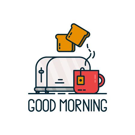 Good morning card. Toaster and a cup of tea Vector modern line outline flat style cartoon illustration. Isolated on white background.Concept creative card