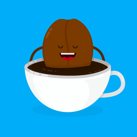 Cute smiling happy coffee bean lies in coffee cup. Vector modern style flat cartoon character illustration design icon. Isolated on blue background.  Creative concept for coffee cafe card Иллюстрация