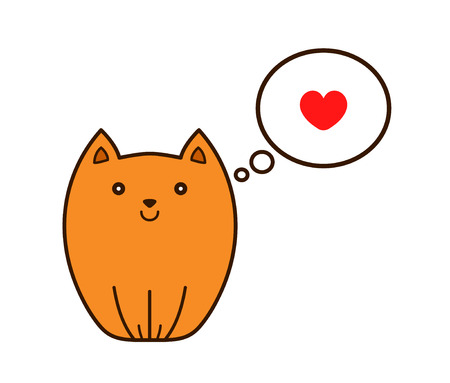 Cat with heart in thought cloud. Vector modern line outline flat style cartoon character illustration icon. Isolated on white background. Cat pets love concept Illustration