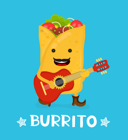 Tasty cute happy smiling burrito dance acoustic guitar. Vector modern flat style cartoon character illustration