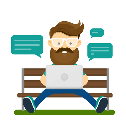 Young hipster man with beard and glasses sitting on the bench with laptop computer and use wifi internet for chat with friends.
