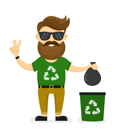 Young smiling happy beard hipster eco friendly man. Ecology man sorting a trash.